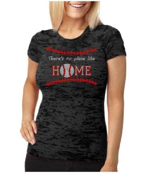 Baseball No Place Like Home Rhinestone Shirt | Vinyl and Rhinestone Co.