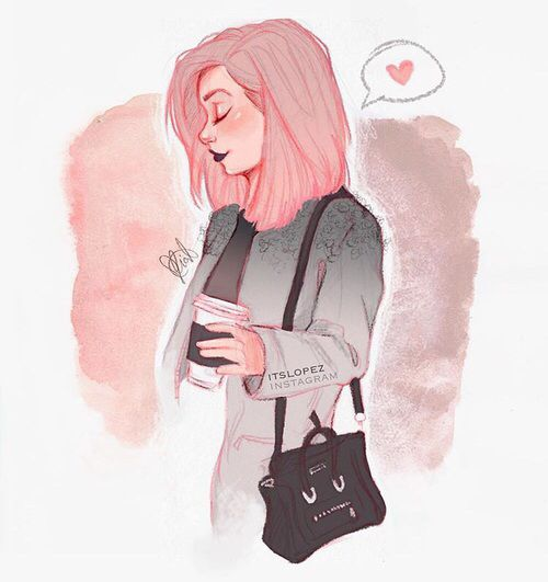 Girl With Pink Hair Illustration Drawing Art Cute Art Art Drawings Drawings