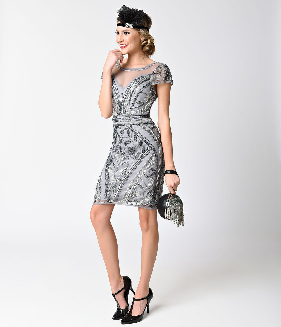 75ed72bd Verty 1920s Style Silver Grey Sheer Beaded Cap Sleeve Short Flapper Dress  Size L $78.00 AT Vintagedancer.com