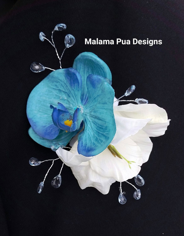tropical hair clip, silk hair flower, hair accessory, turquoise