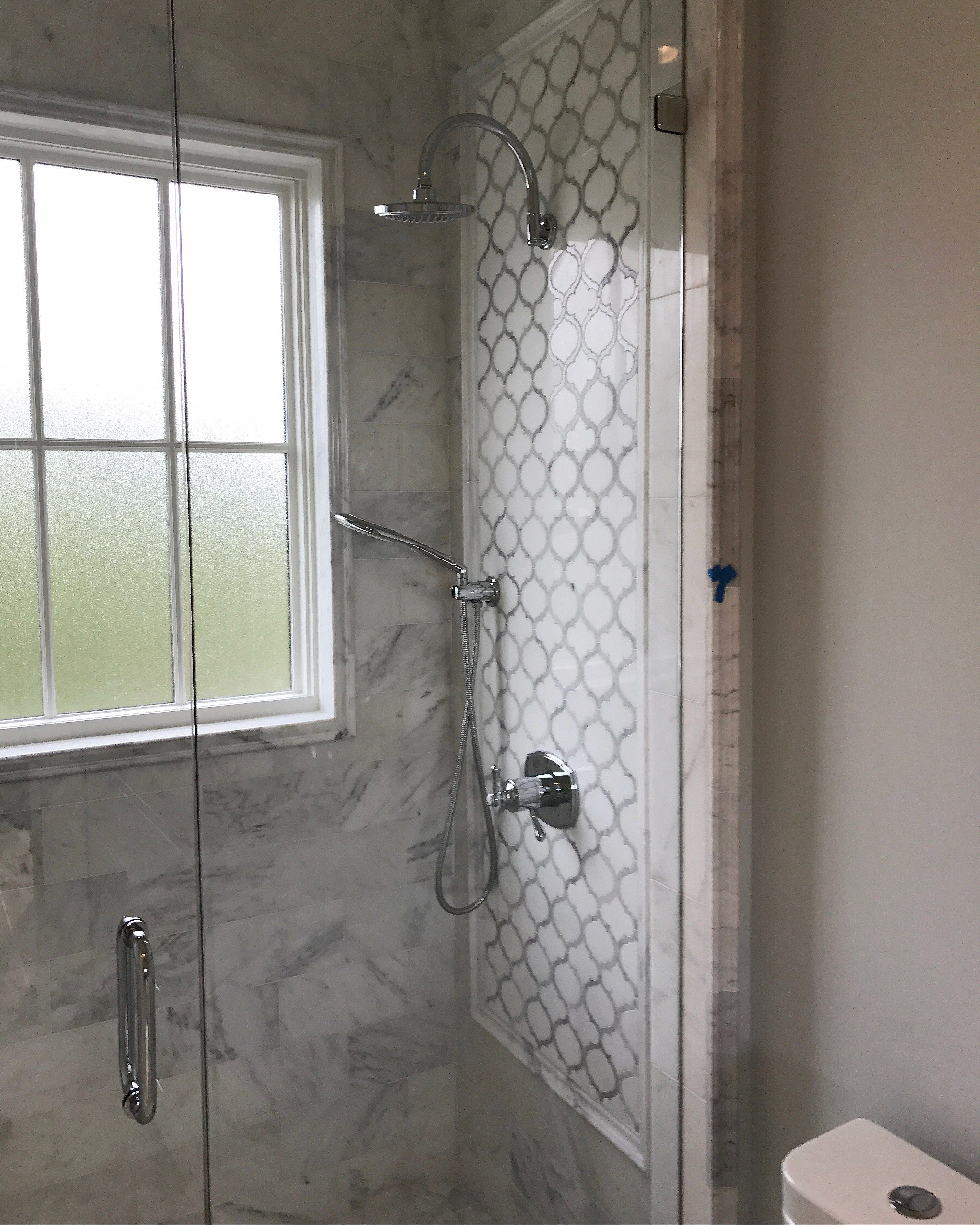 White Thassos And Bianco Carrara Marble Waterjet Mosaic Tile In Arabesque Marrakech Marble Shower Walls Marble Bathroom Designs Basement Bathroom Remodeling