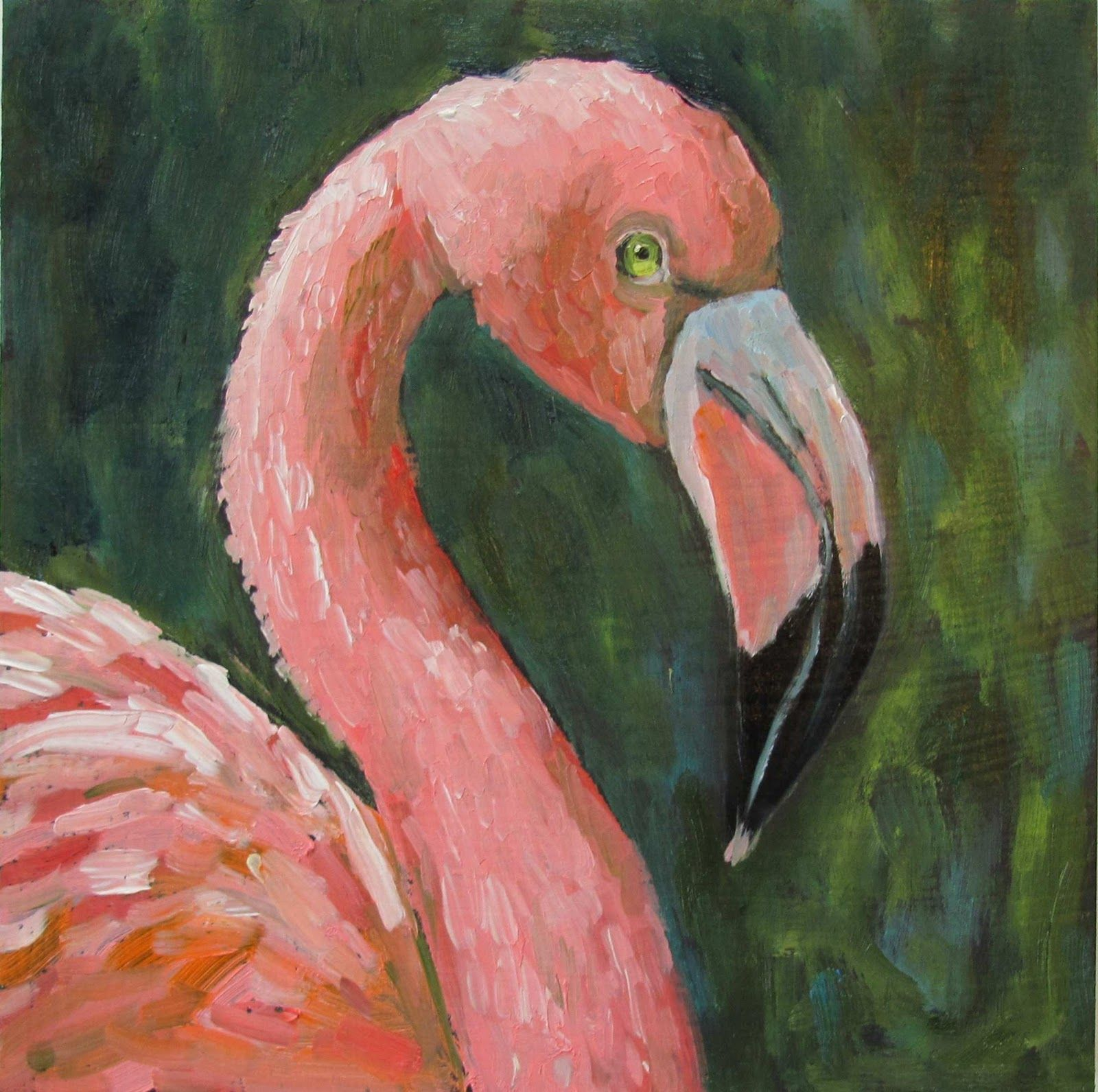 flamingo paintings canvas easy for kids | Flamingo ...