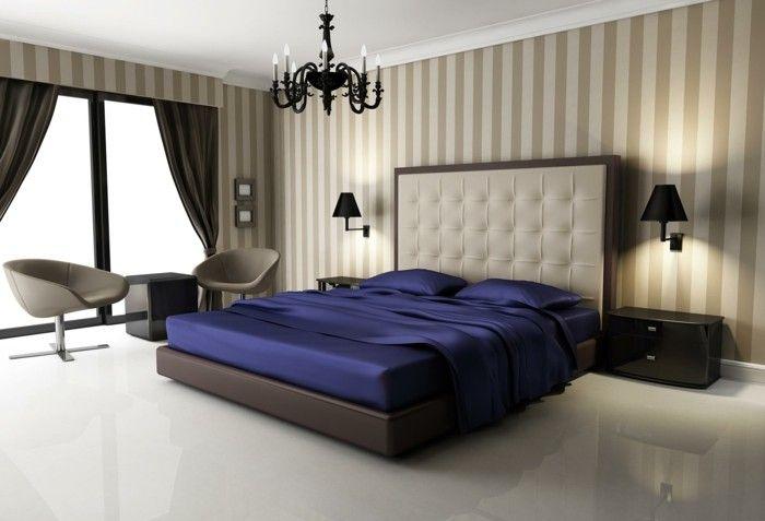 wohnideen schlafzimmer helles interieur mit dunkelbraunen gardinen - gardinen für schlafzimmer