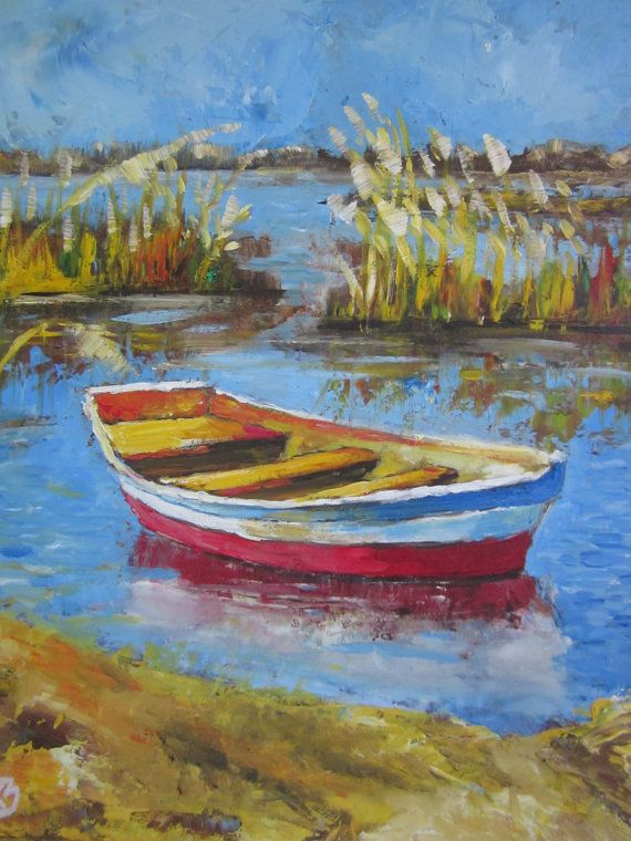 Original Oil Painting Boat On The River Danube Painting