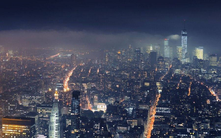 New York City At Night Cloudy Atmosphere Desktop Wallpaper