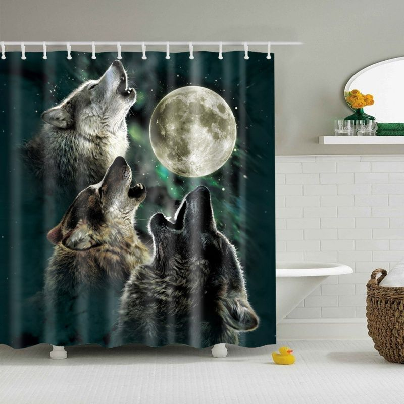 Animal Shower Curtain Wolves Full Moon Bathroom Shower Curtains