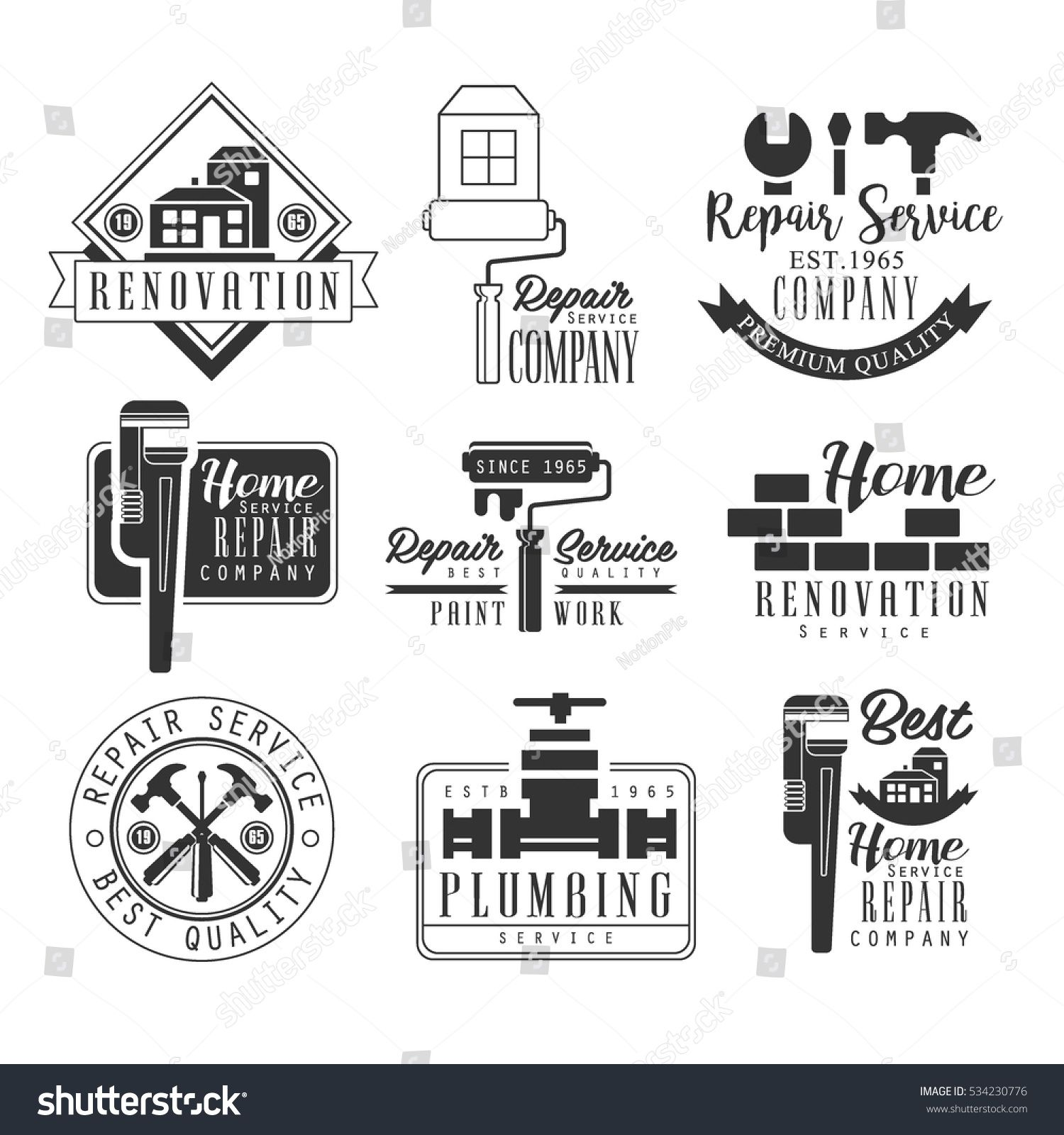 plumbing and repairing service black and white sign design templates with text and tools silhouettes