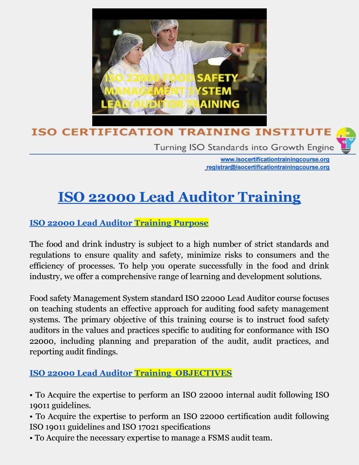 ISO 22000 training | iso training institute | Train