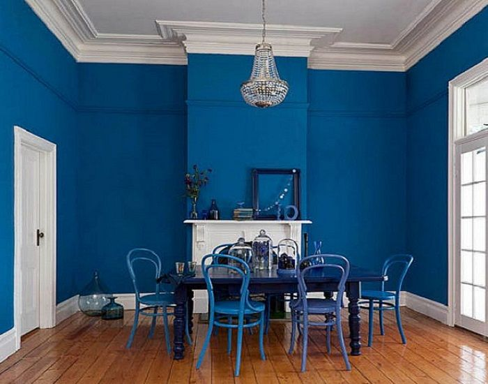 Bold Blue Interior Paint Color For Dining Room
