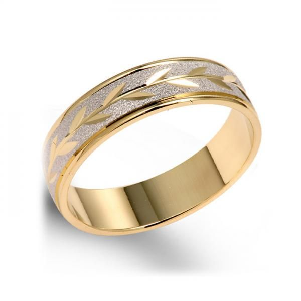 14k Two Tone Leaf Design White Yellow Gold Wedding Band 5mm Mens Gold Wedding Band Diamond Wedding Bands Gold Wedding Band