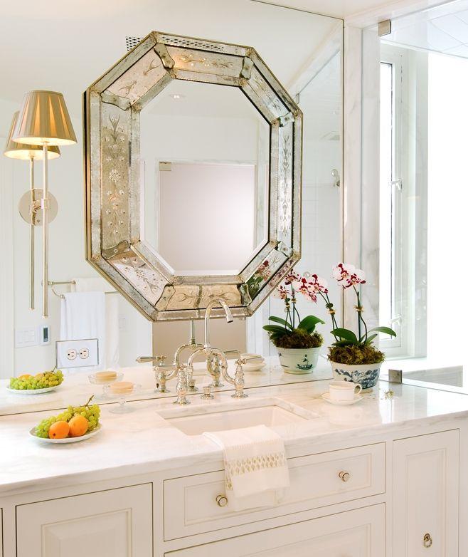 Attractive Lovely Bathroom Decor With Venetian Mirror; Venetian Mirrors; Bathroom  Decor Ideas