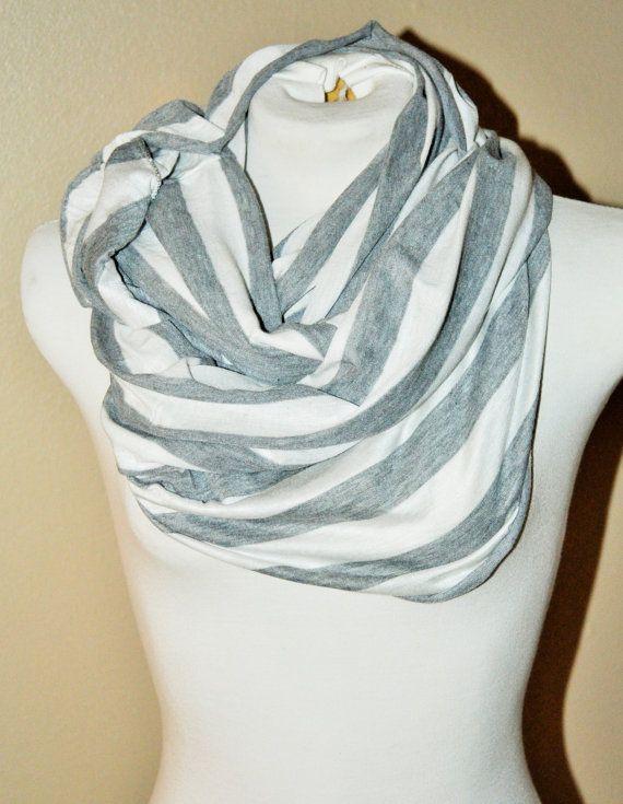 RYLO Nursing Infinity Scarf grey and white stripes. by RYLOwear, $19.00