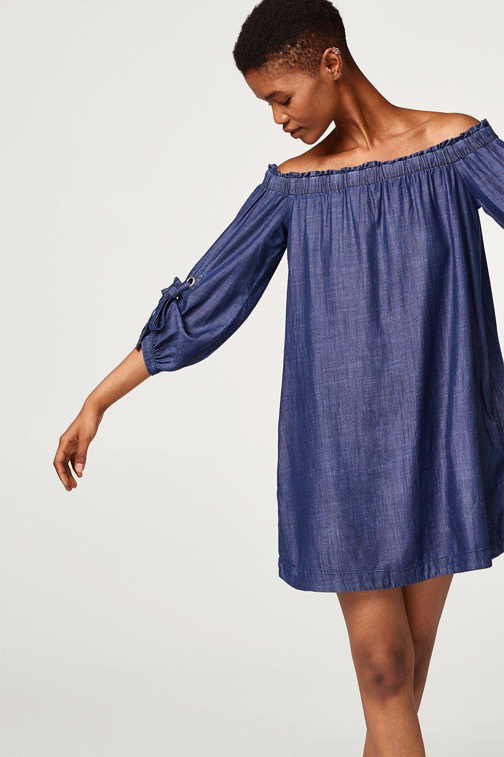 edc by Esprit Off-Shoulder-Kleid aus Lyocell in Denim-Optik Jetzt bestellen 91546f7d81