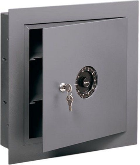 Sentrysafe 7150 Dual Protection Wall Safe 0 42 Cu Ft Capacity Combination Lock Flat Key Lock Reversible D Wall Safe Fireproof Home Safe Combination Locks
