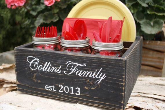Napkin Silverware Paper Plate Holder Caddy Box Handmade Reclaimed Wood Personalized Family Name Gift Under 50 Dollars & Napkin Silverware Paper Plate Holder Caddy Box Handmade Reclaimed ...