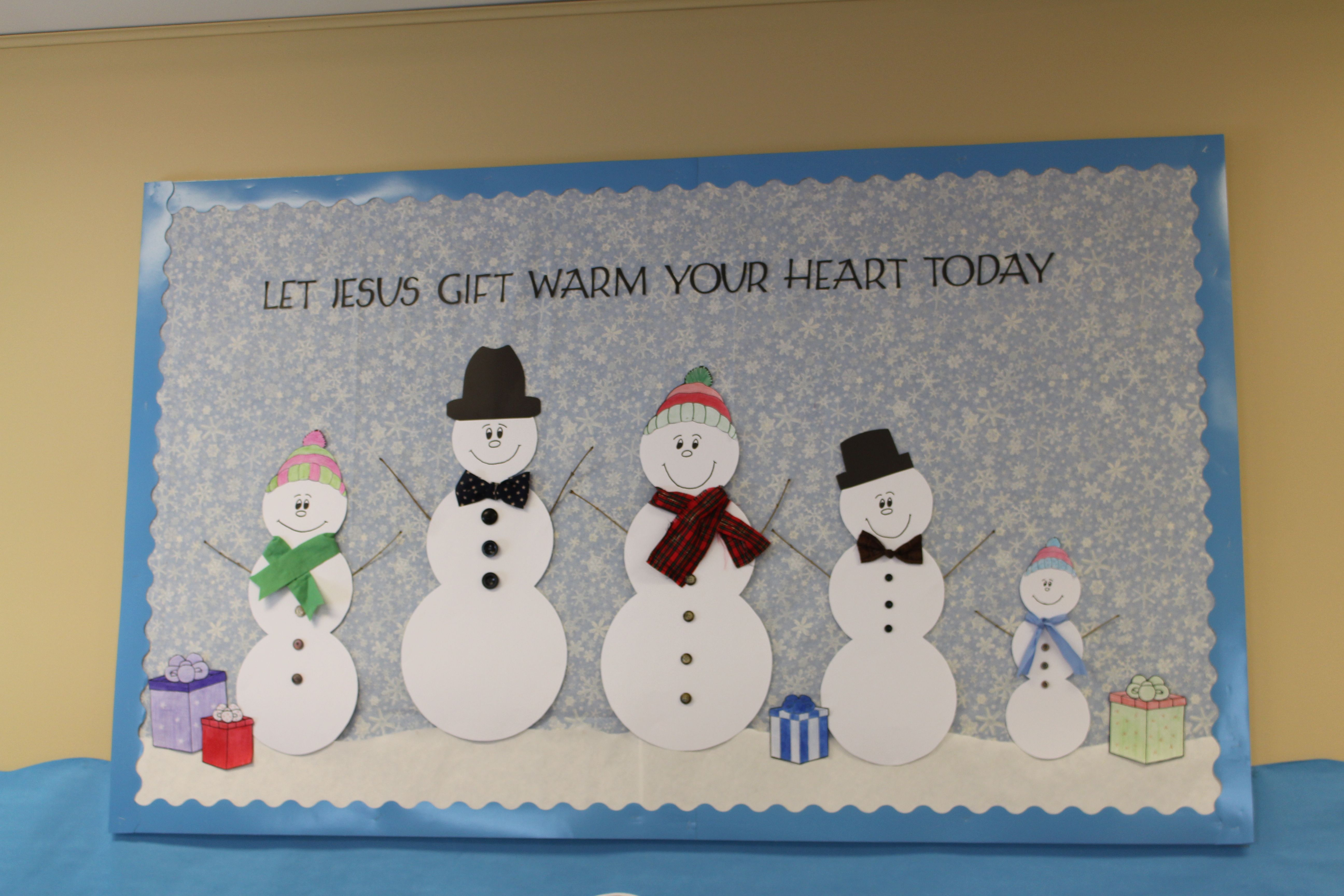 Christian Winter Snowman School Bulletin Board Idea Let Jesus Gift Warm Your Heart Today Credits T Teacher Boards Gifts