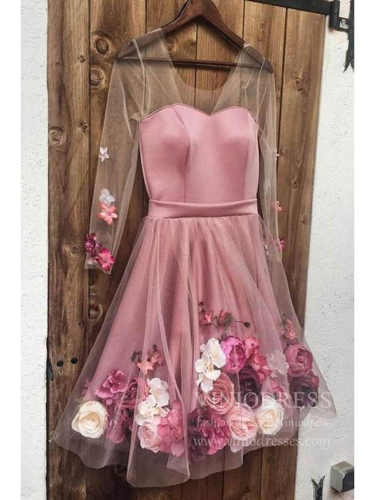 Long Sleeve Pink 3d Flowers Homecoming Dresses For Teens Sd1271 In 2021 Pink Homecoming Dress Floral Homecoming Dresses Pink Party Dresses [ 1024 x 768 Pixel ]