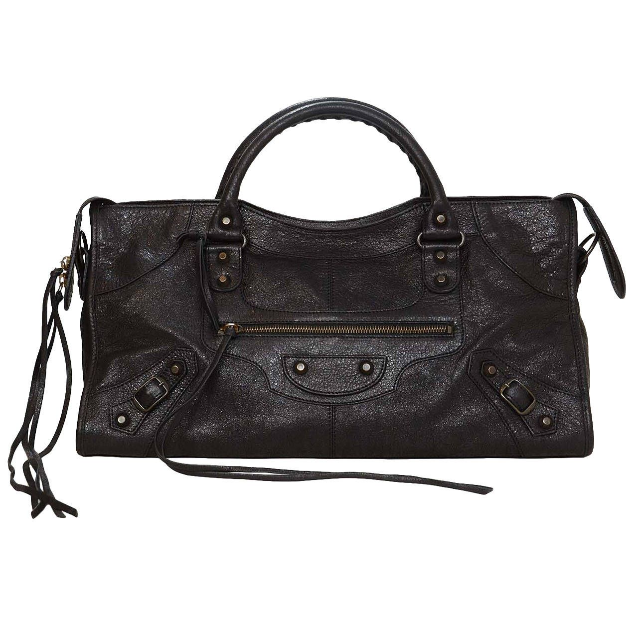 BALENCIAGA NWT Black Distressed Leather Classic Part Time Bag BHW rt. $ 1,875 | From a collection of rare vintage shoulder bags at https://www.1stdibs.com/fashion/handbags-purses-bags/shoulder-bags/