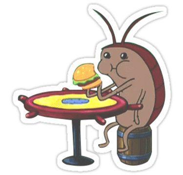 Cockroach eating krabby patty | Sticker | Aufkleber ...