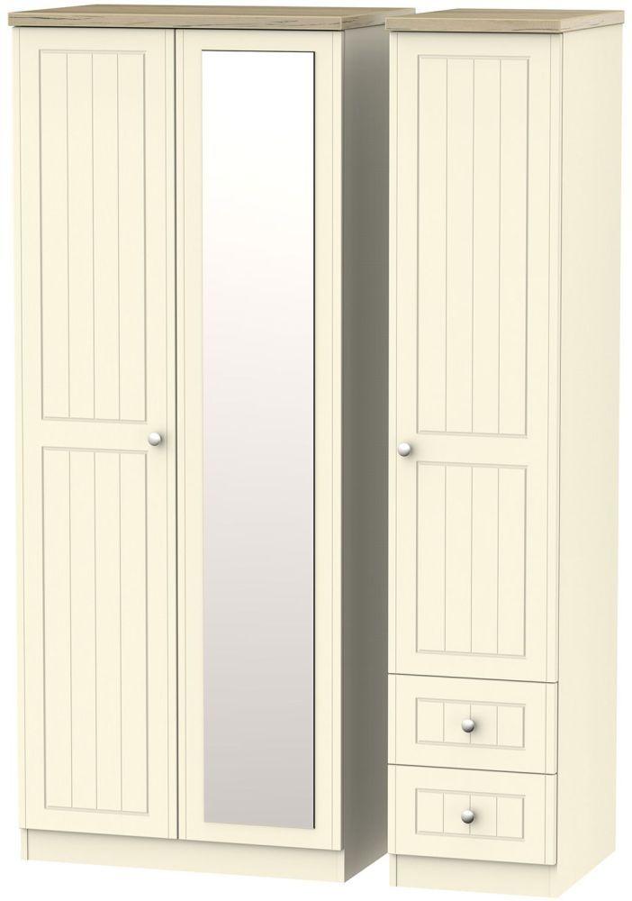 new york c76ef 0df07 Vienna Cream Ash 3 Door 2 Drawer Mirror Triple Wardrobe ...