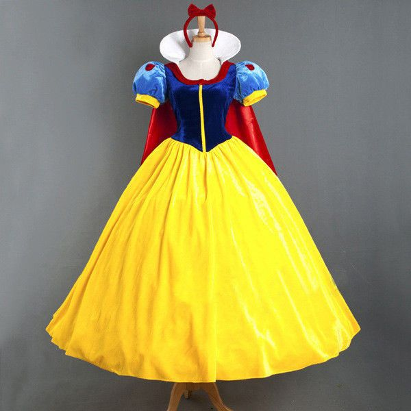 Snow White Adult Costume Princess Cosplay Dress Halloween Party Ball Gown