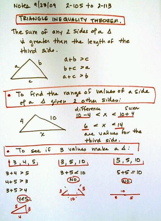Triangle Inequality Notes Google Search School Pinterest