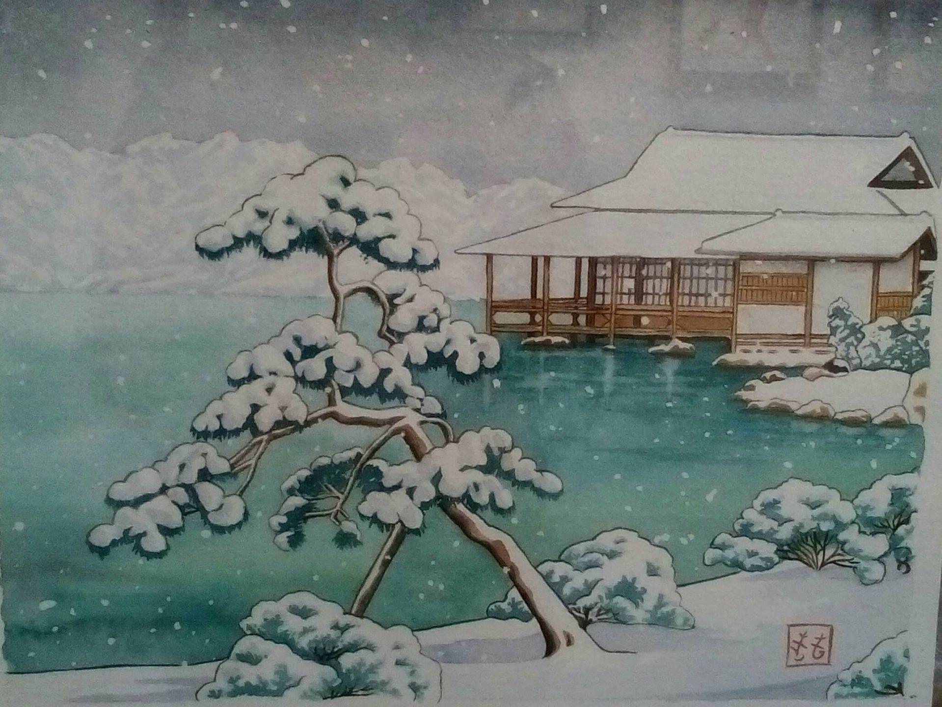 Aquarelle Japon Estampe Japonaise Neige Sur Un Lac Japonais