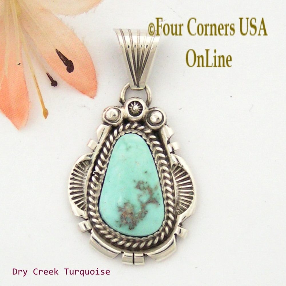 Dry Creek Turquoise Sterling Pendant Navajo Artisan Harry Spencer NAP-1556 Special Buy Final Sale -   - #artisan #buy #creek #Dry #Final #harry #jewelryshop #modernjewelry #NAP1556 #navajo #pearljewelry #Pendant #Sale #Special #Spencer #sterling #turquoise #turquoisejewelry