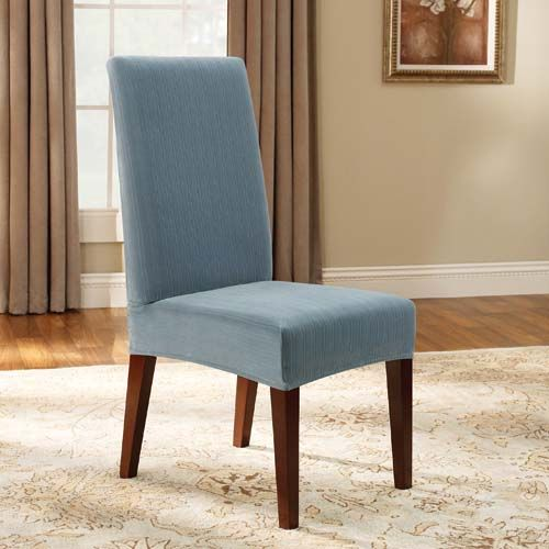 Room BLUE SHORT STRETCH PINSTRIPE DINING CHAIR COVER