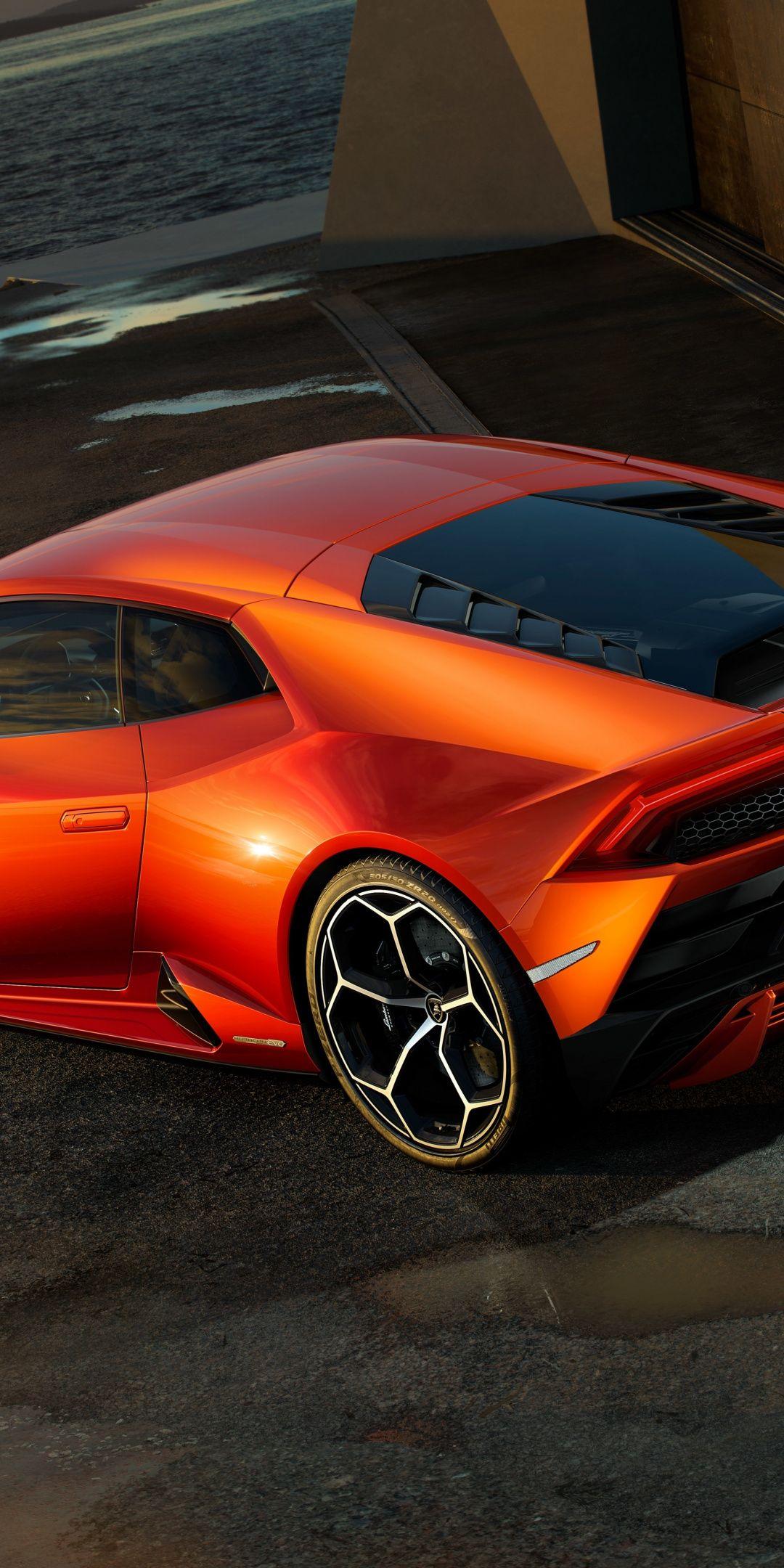 Rear View Lamborghini Huracan Orange Sports Car 1080x2160 Wallpaper Sports Car Lamborghini Lamborghini Huracan