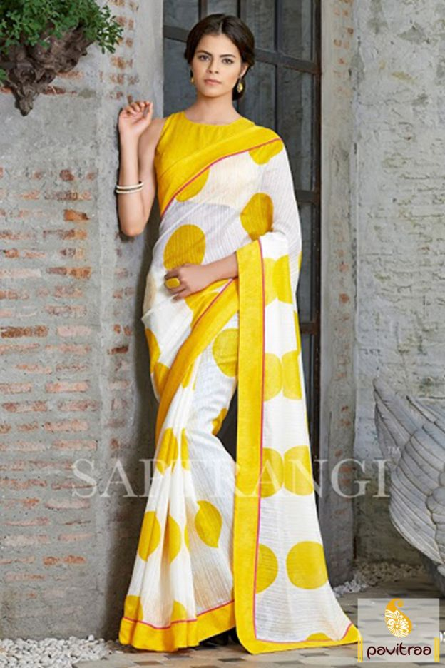 9d74c9b8d2 Saree Online Shopping: Buy Latest Indian Sarees at Best Price. A tempting  and fancy looking yellow off white linen casual saree is beautiful with  nice big ...