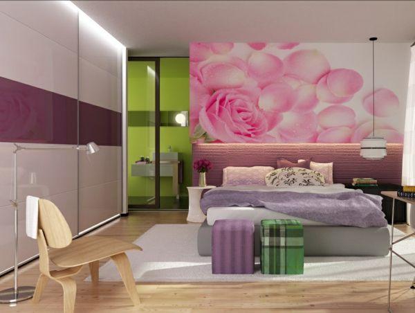 Jugendzimmer Mädchenzimmer Tapete Rosen