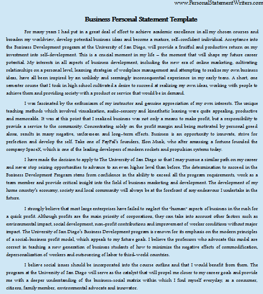 business personal statement template
