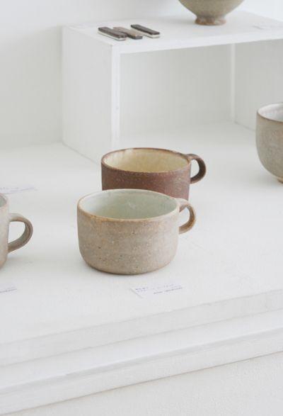 hasuo yasuko coffee mugs. ceramic, pottery.