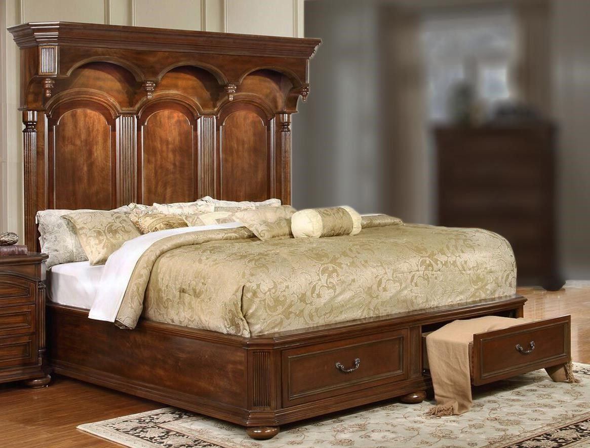 Empire Queen Storage Bed with Headboard Lighting (With