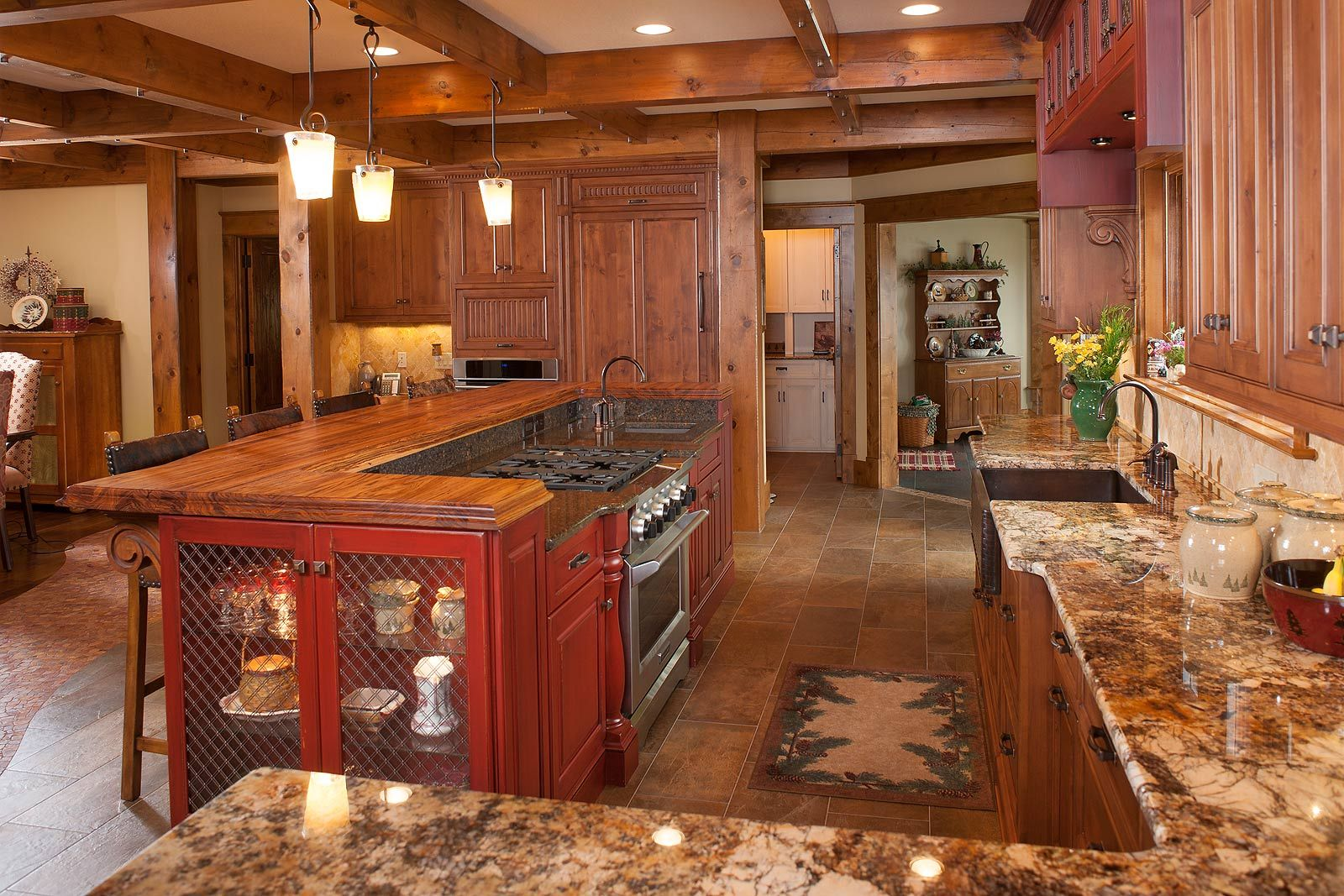 log cabin kitchen islands | Rustic Kitchen Island for Rustic Kitchen ...