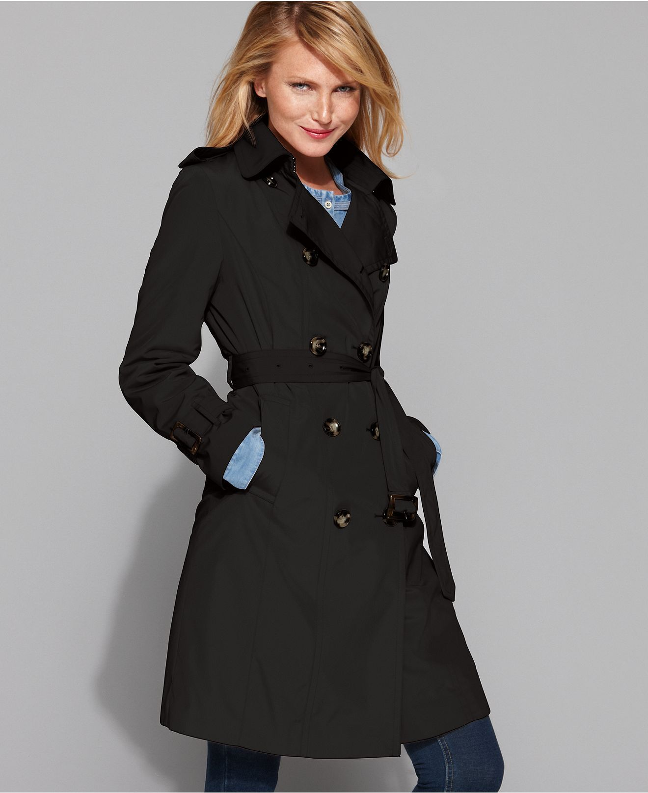 6e054c078 London Fog Petite Coat, Classic Belted Trench Coat - Womens Petite ...