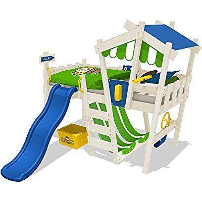 wickey kinderbett crazy hutty hochbett abenteuerbett inkl lattenboden apfelgr n blau blaue. Black Bedroom Furniture Sets. Home Design Ideas