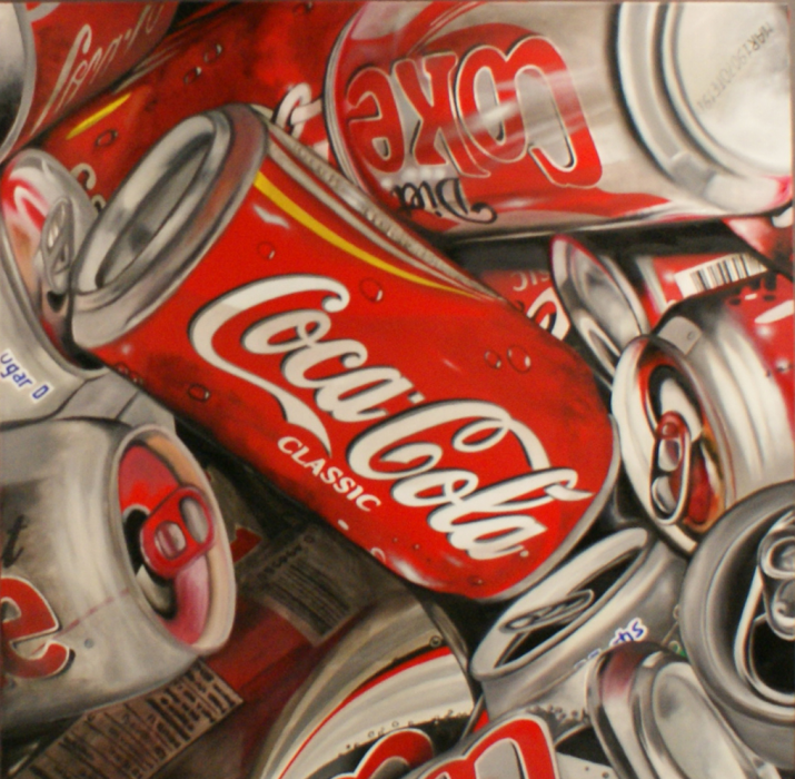 "Stephane DILLIES. Painting ""Pretty Cans 01"", 100x100 cm. Available on www.stripart.com"