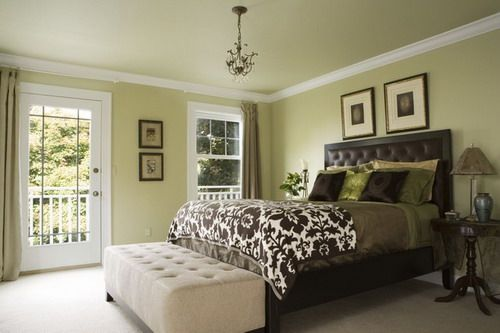 Cool Green and White Wall Color Themes with Dark Wood Beds in Small