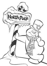 Frosty At North Pole Coloring Page Snowman Coloring Pages