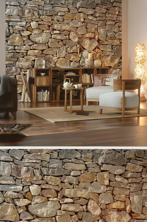 fototapete vol 15 papier stone wall 368 x 254 cm steinwand fototapete und wohnzimmer. Black Bedroom Furniture Sets. Home Design Ideas