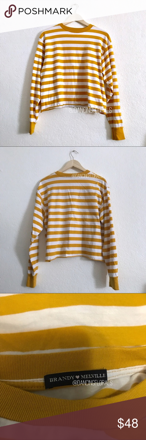 dfcce4c22e Brandy Melville Deep yellow mustard Acacia sweater Brandy Melville Deep  yellow mustard and white striped Acacia long sleeve top Soft cotton long  sleeve top ...