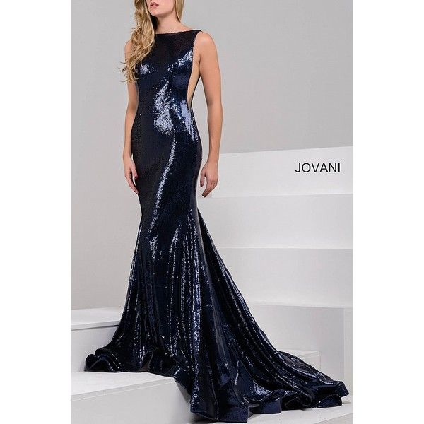 Navy sleeveless mermaid sequined dress with low back. ❤ liked on Polyvore featuring dresses, sequined dresses, sequin cocktail dresses, low back prom dresses, high neck dress and navy prom dresses