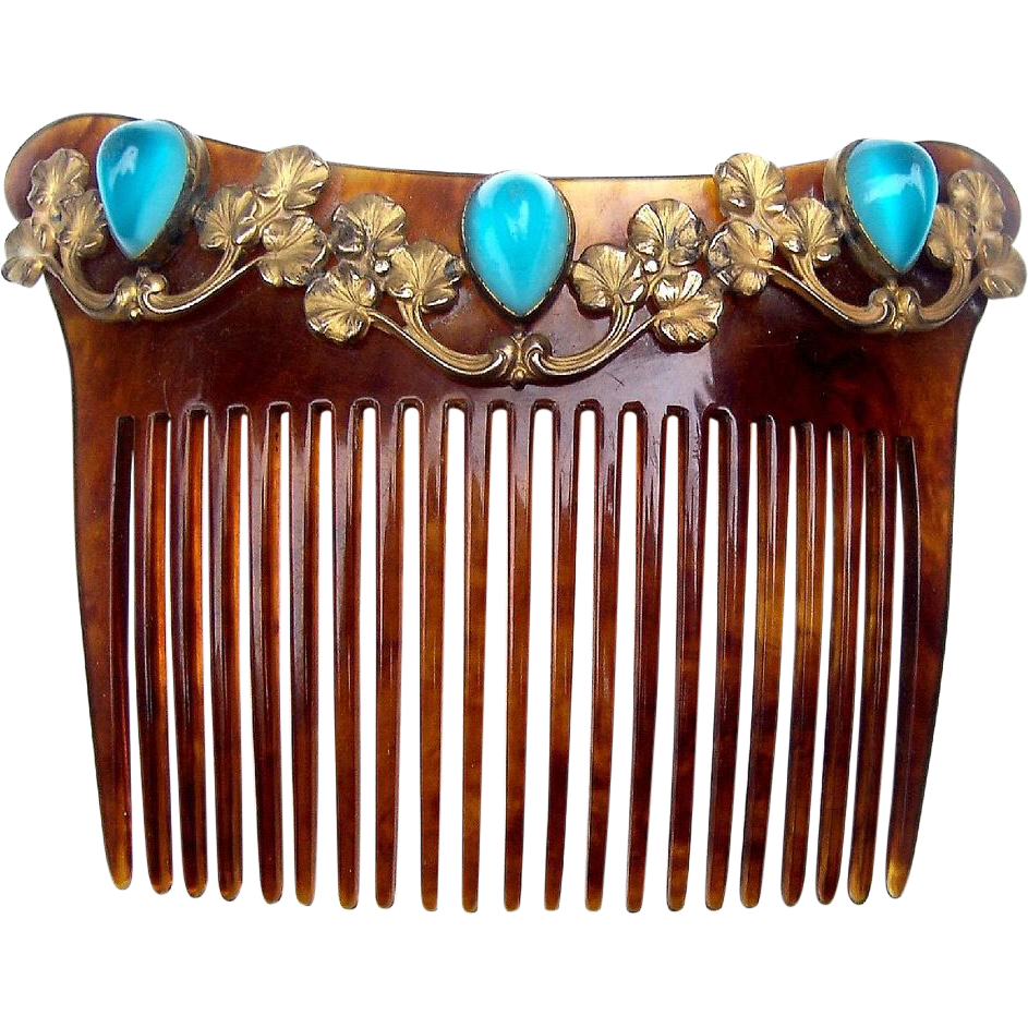 Art Nouveau Hair Comb with Gilt Metal Leaves and Glass Cabochons Hair Accessory