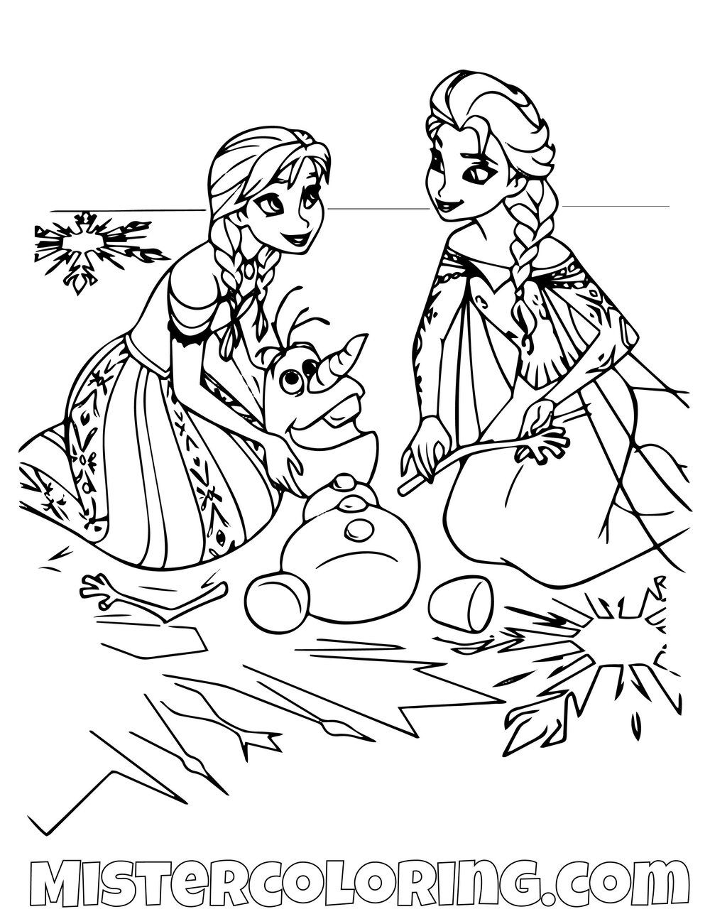 Queen Elsa And Princess Anna Fixing Olaf Frozen 2 Coloring Pages