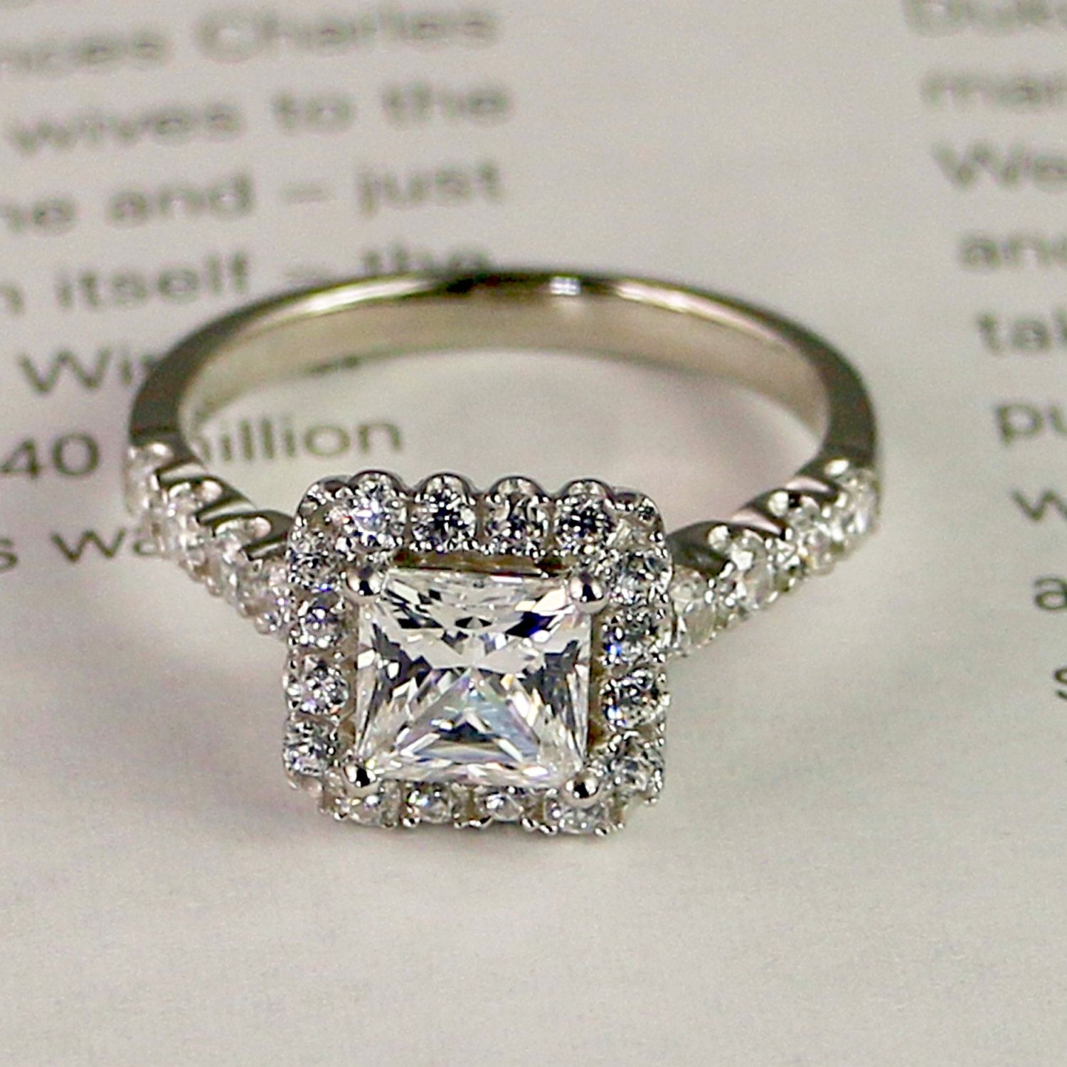 1.9ct Sterling silver engagement ring Cubic by PescaraJewelry