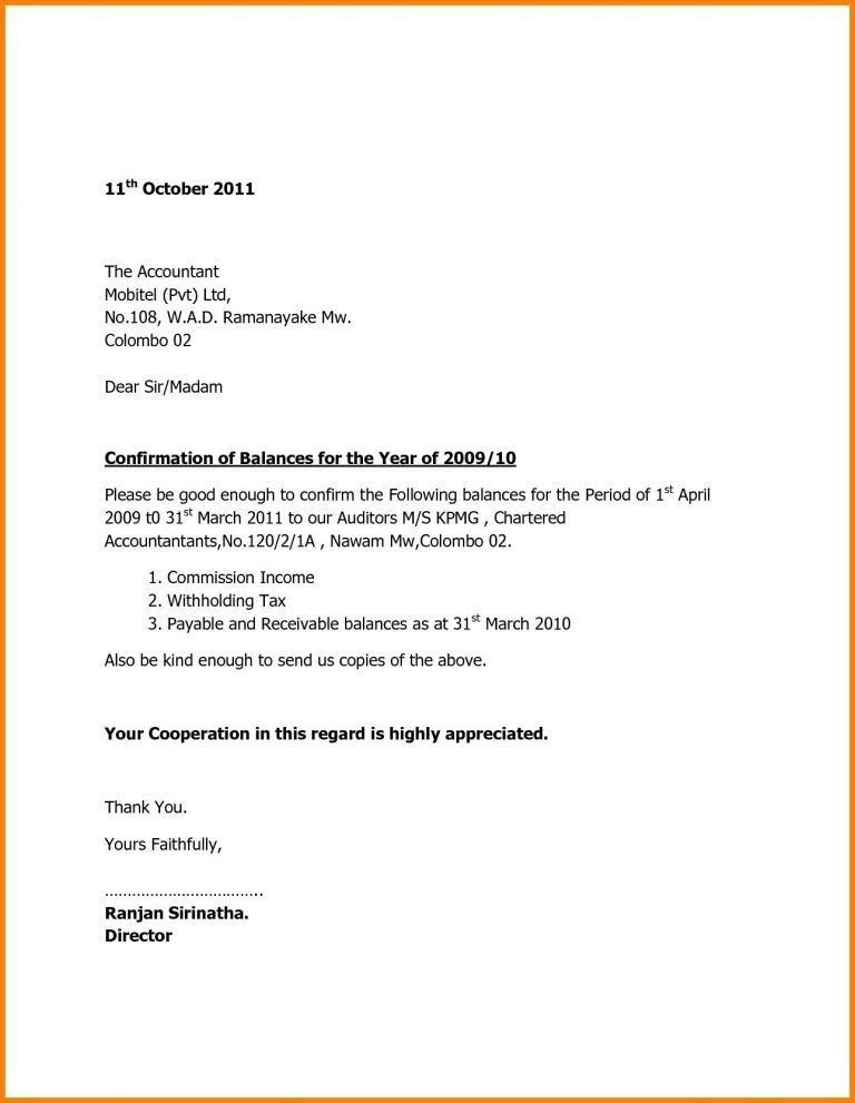 Format Of Bank Confirmation Letter New Balance Confirmation Letter