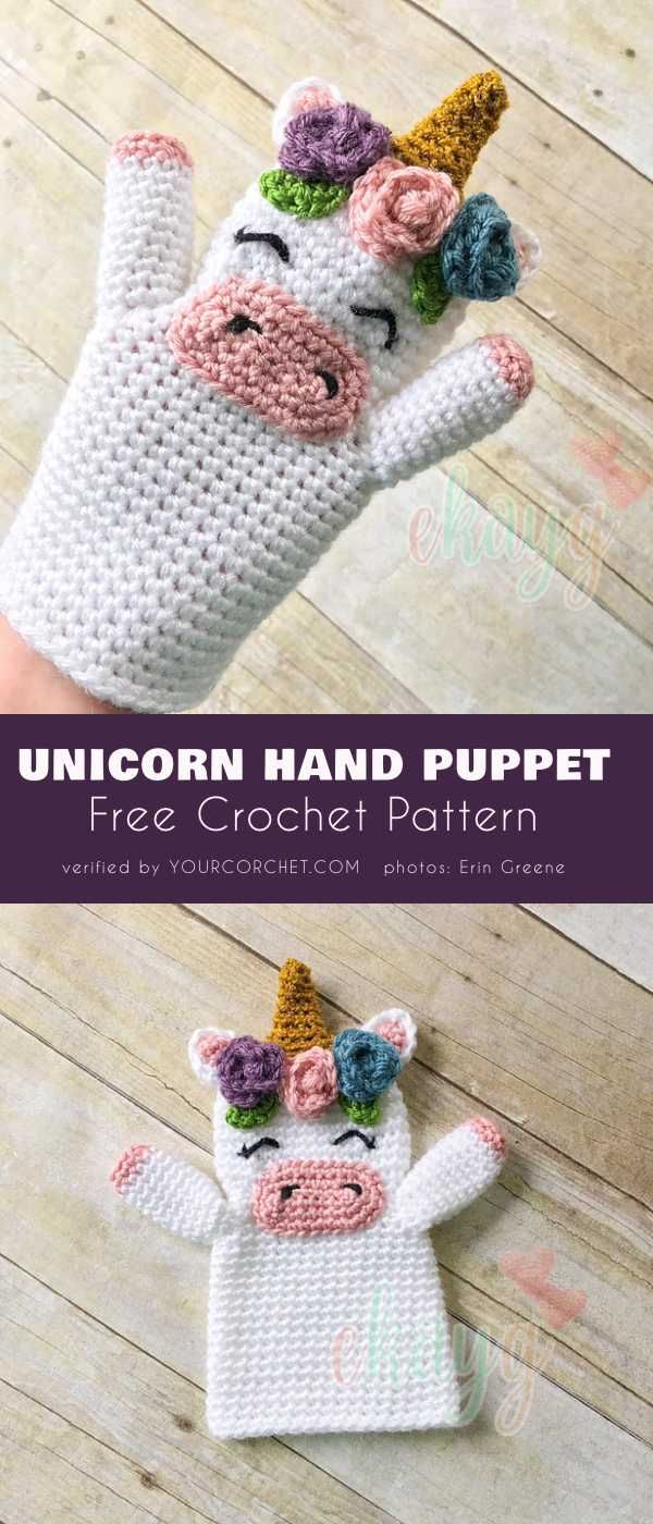 Unicorn Hand Puppet Free Crochet Pattern | títeres tejidos ...