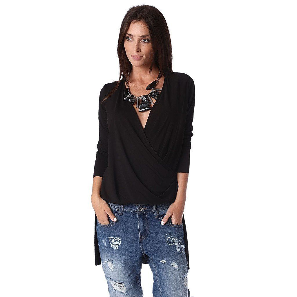 Black drape wrap blouse with dip hem – Fashion Gal Freedom